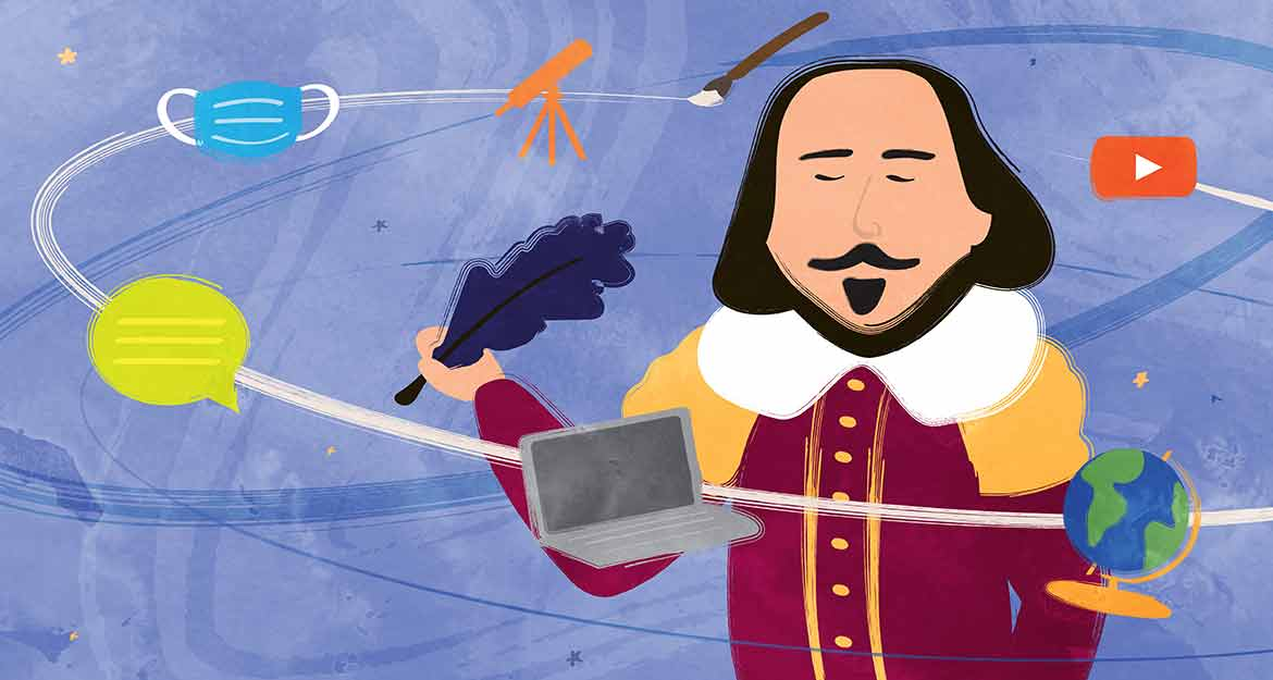 Illustration of Shakespeare holding a pen with modern-day objects surrounding him