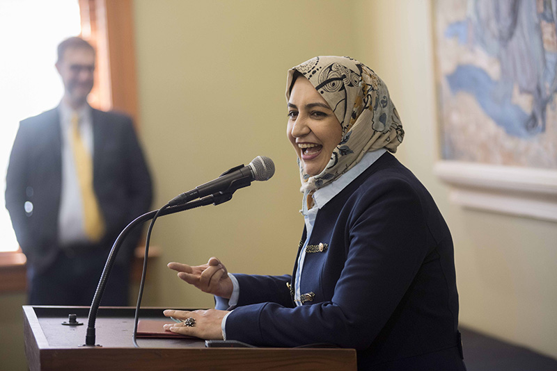 Wadia Waheed speaks at the MiniMasters graduation ceremony at Old Main on April 8, 2019. Photo by Laura Segall.