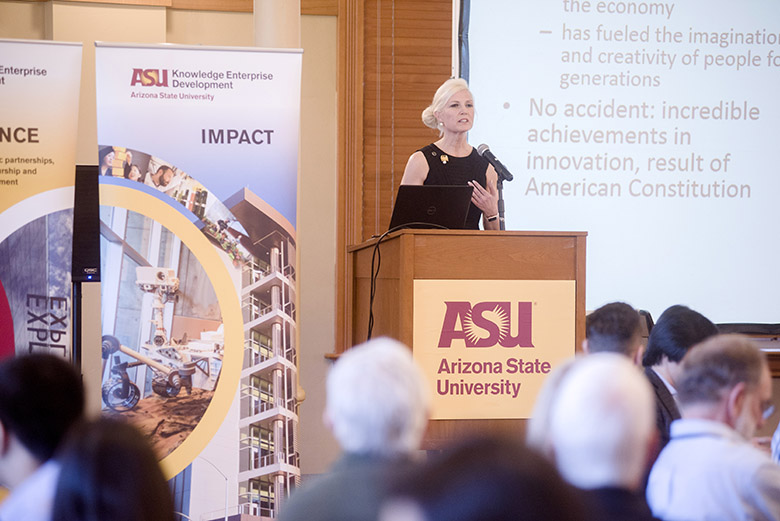 Elizabeth Dougherty delivers a speech at the Celebration of Invention event