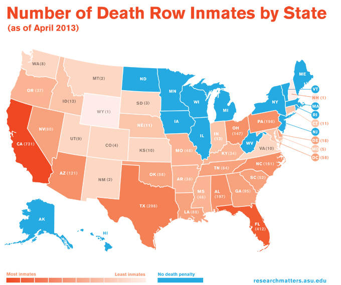 Heat map of the US showing number of death row inmates by state