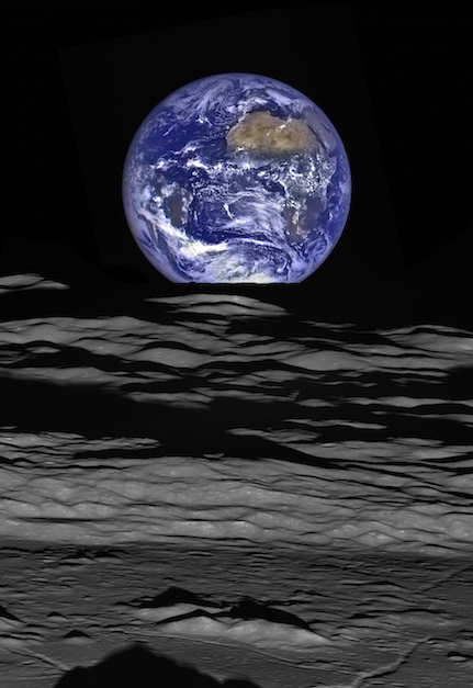 Earth-rise over moonscape