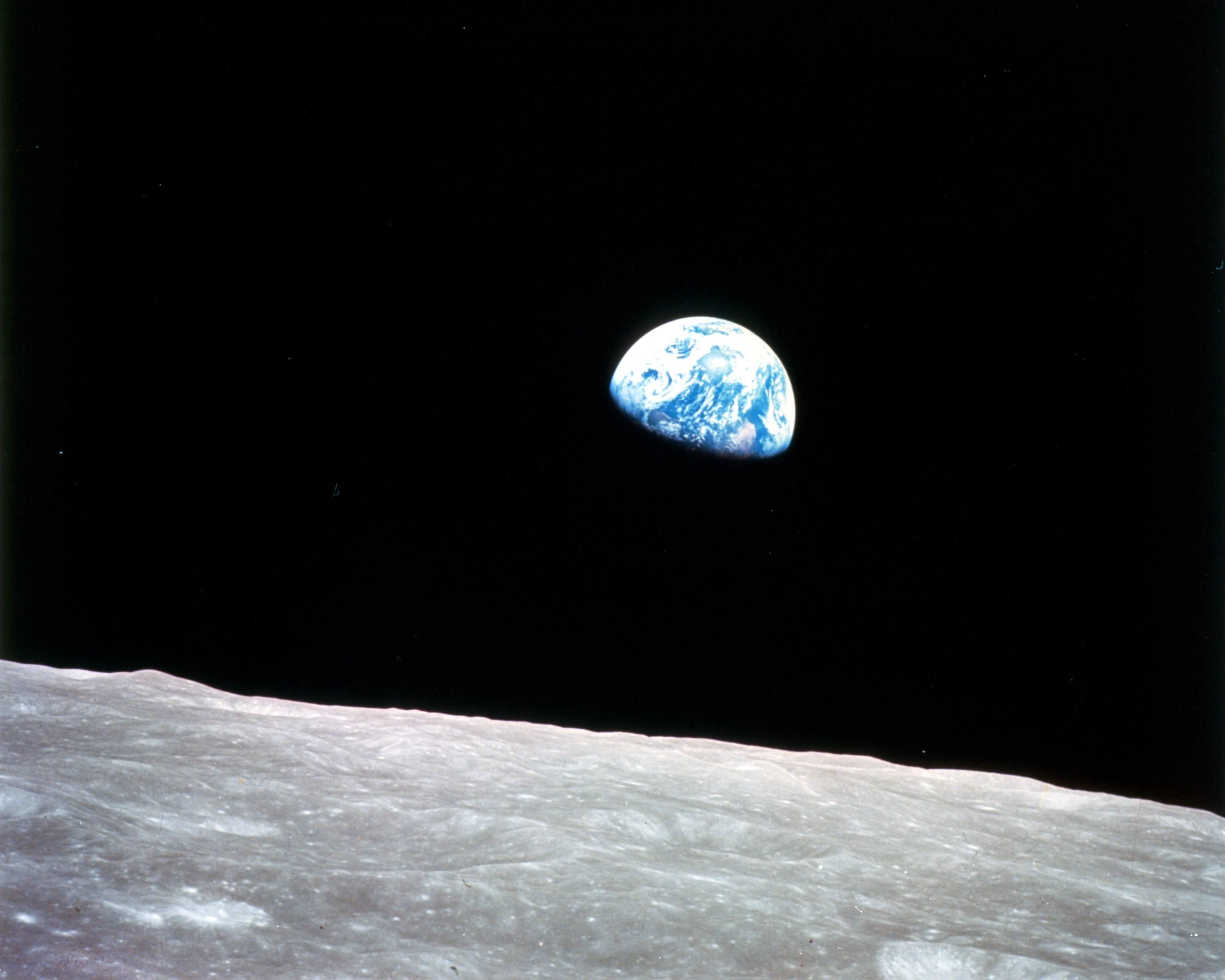 Photo of earth from moon in space