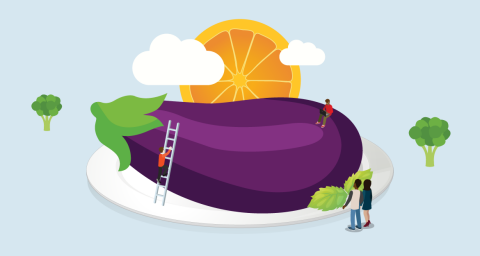 graphic of people around a giant aubergine on a plate
