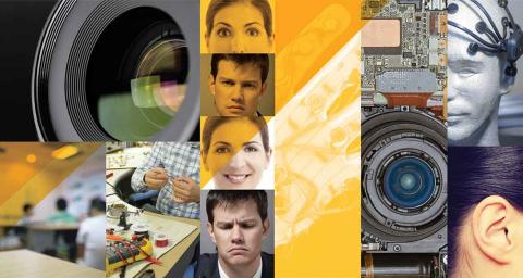 Collage of AI camera lenses, human faces and robots