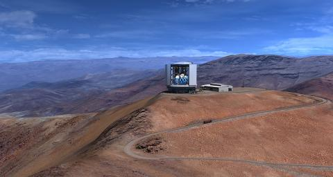 A rendering of the Giant Magellan Telescope sitting atop Las Campanas Peak in Chile. Slated for competition in 2026, the telescope will boast an optical surface of 24.5 meters in diameter, making it the first in a new generation of extremely large telescopes.