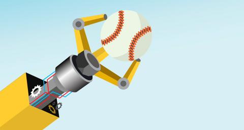 Robot arm holds a baseball