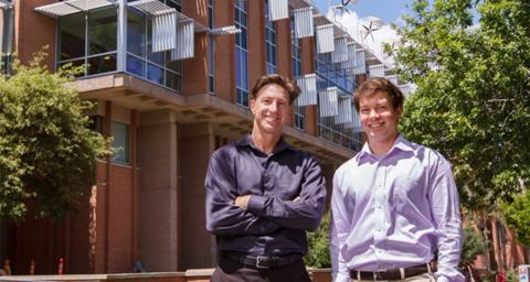 ASU alum Andrew Krause (right) and his mentor George Basile, a senior scientist at the Julie Ann Wrigley Global Institute of Sustainability, have launched the action-oriented online social platform eEcosphere. Photo by Andy DeLisle.