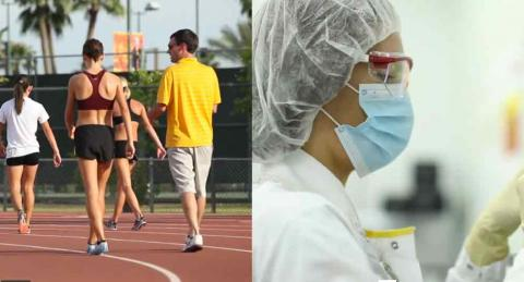 runners on a track and a researcher in a lab