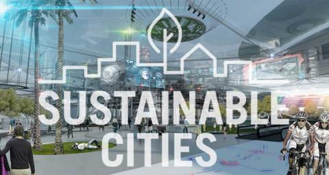 A modern city with the sustainable cities graphic overlaying