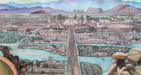 A mural painted by Diego Rivera showing the Aztec city of Tenochtitlan. Photo by Wolfgang Sauber under a CC BY-SA 3.0 license.