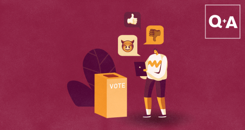 illustration of person by vote box surrounded by social media icons