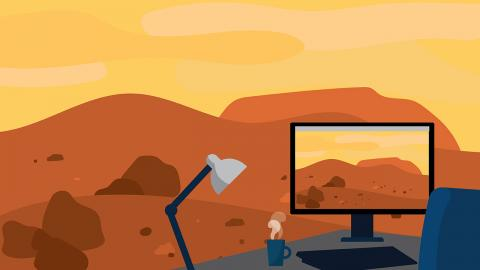 An illustration of a Martian landscape replicated on a computer desktop.