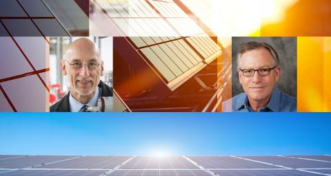Composite image of Robert Nemanich and Stephen Goodnick on images of solar panels.