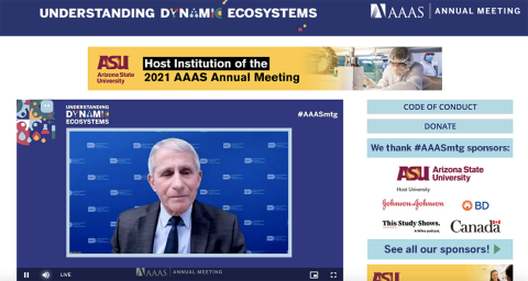 A screenshot of Dr. Anthony Fauci speaking during the virtual AAAS annual meeting
